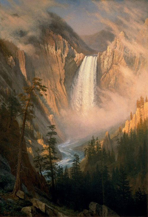 Visit Yellowstone Falls through art and in person. 'Yellowstone Falls' by Albert Bierstadt. 2.63