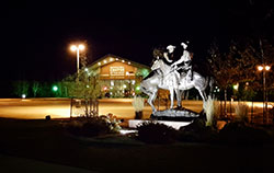 Buffalo Bill Center of the West at night. Buffalo Bill Center of the West photo by Kimberly Zierlein.