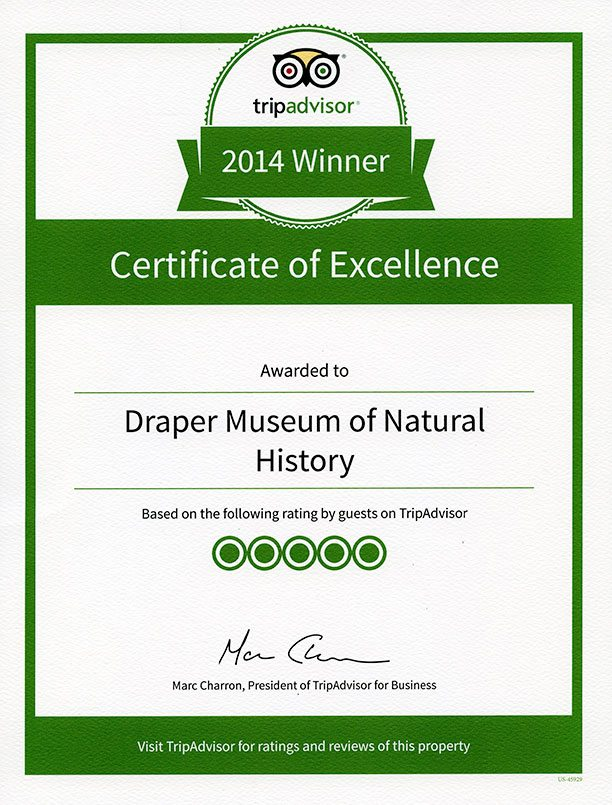 TripAdvisor Certificate of Excellence: Draper Natural History Museum