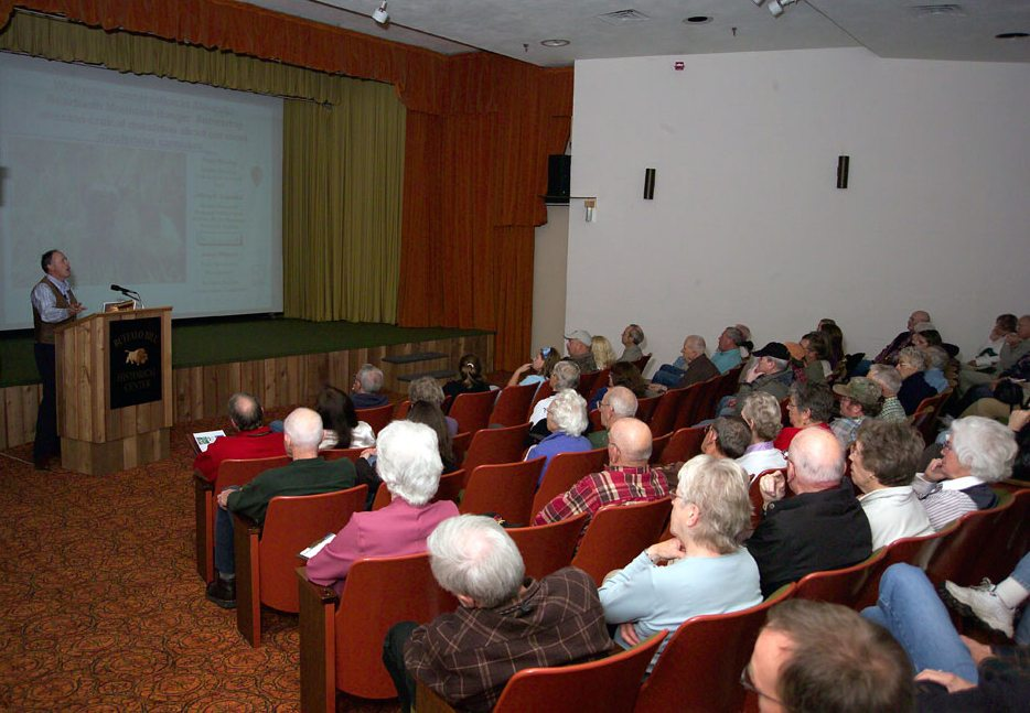 A lecture in the Coe Auditorium