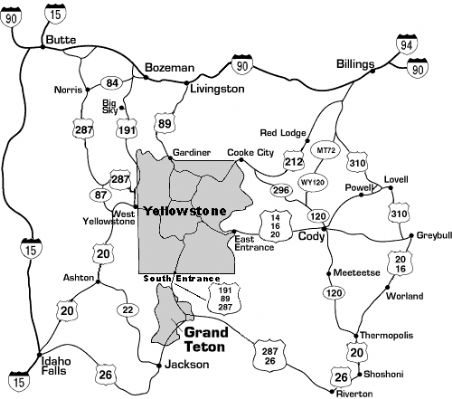 The Greater Yellowstone region map.