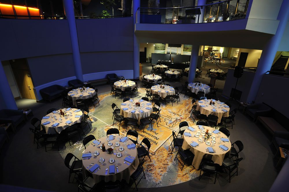A dinner set-up on Draper Museum Floor Map.