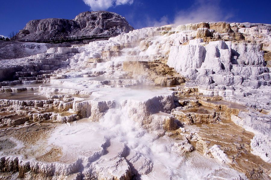 Don't miss Minerva Terrace at Mammoth Hot Springs when visiting Yellowstone National Park by Jim Peaco. NPS Photo
