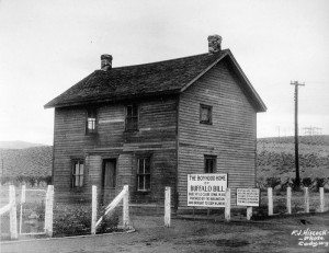 Buffalo Bill's Boyhood Home relocated to Cody from LeClaire. Located at the Burlington Depot near the Burlington Inn just north of Cody. F.J. Hiscock Photo. P.6.529