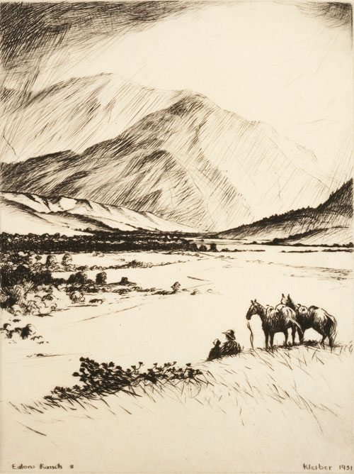 """Hans Kleiber (1887 - 1967). """"Eatons Ranch II,"""" 1931. Etching. Gift of Lucille M. Wright. 31.71.198"""
