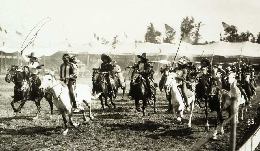 Cowboys and Indians in Wild West arena, ca. 1900. PN.47.23 Frank Hopkins claimed to be a Wild West performer.