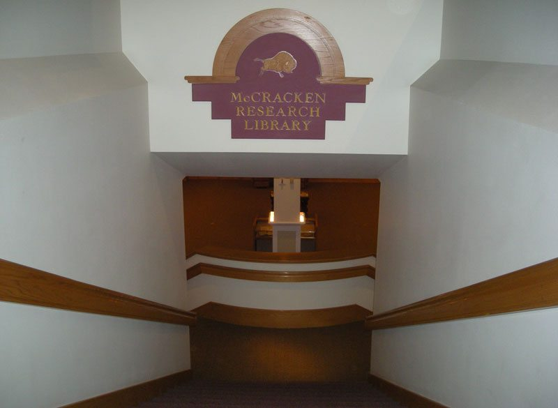 Access to the McCracken Research Library is by stairs from the Buffalo Bill gallery