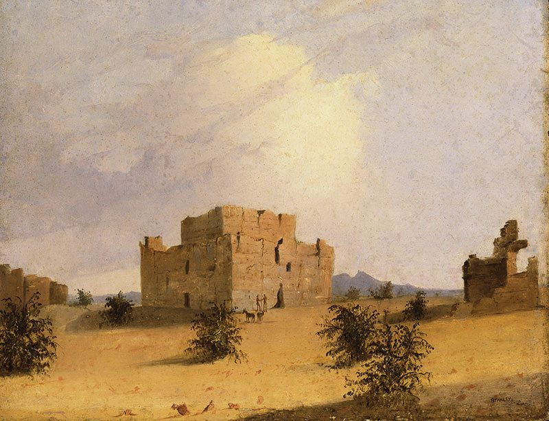 "John Mix Stanley (1814 - 1872). ""Casa Grande Ruin,"" 1846. Oil on board. Gift of George M. Stanley (grandson of the artist) and Family. 1.99"