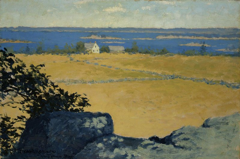 Frederic Remington is a frequent subject of research inquiries. 'Chippewa Bay' by Remington, ca. 1908. 2.67