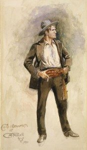 Charles M. Russell (1864 – 1926). Self Portrait, 1900. Watercolor on paper, 12.375 x 6.875 inches. Gift of Charles Ulrick and Josephine Bay Foundation, Inc. 98.60