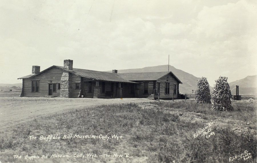 """The """"new"""" Buffalo Bill Museum opened in 1927 and was located just south and east of the Scout. The original building currently serves as the Cody Country Chamber of Commerce. F.J. Hiscock Photo. Mary Jester Allen Collection. P.41.502"""