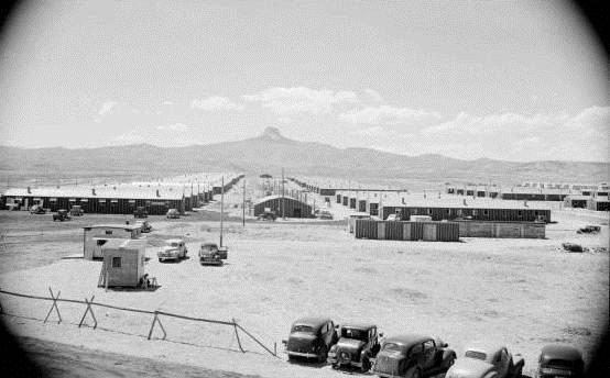 Heart Mountain Relocation Center barracks, 1942. PN.89.111.21236.5