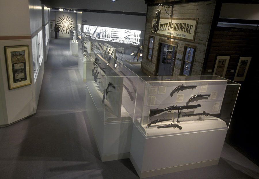 Gallery view of the Cody Firearms Museum with hardware store exhibit