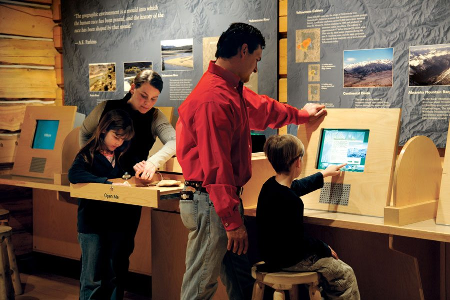 Visitors enjoy engaging and interactive activities at the trailhead of the Draper Museum of Natural History