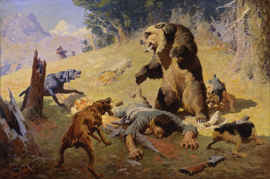 William R. Leigh's 'Grizzly at Bay' painting. 5.91