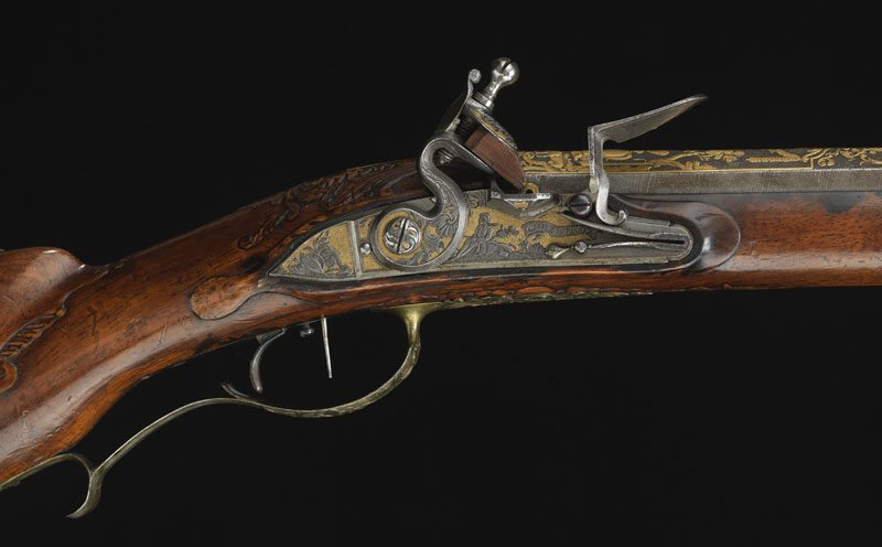 Closeup of firing mechanism of Catherine the Great's Russian Jaeger flintlock rifle, c. 1730. L.373.2012.52