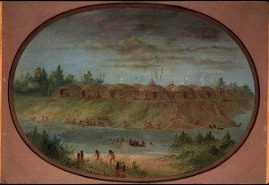 "George Catlin's ""Minatarree Village."" 26.86"