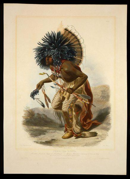 "Karl Bodmer's ""Pehriska-Ruhpa. Moennitari Warrior in the Costume of the Dog Danse."" 21.69.23"
