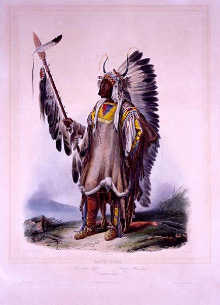 """Karl Bodmer's """"Mato-Tope, A Mandan Chief."""" 21.69.76"""