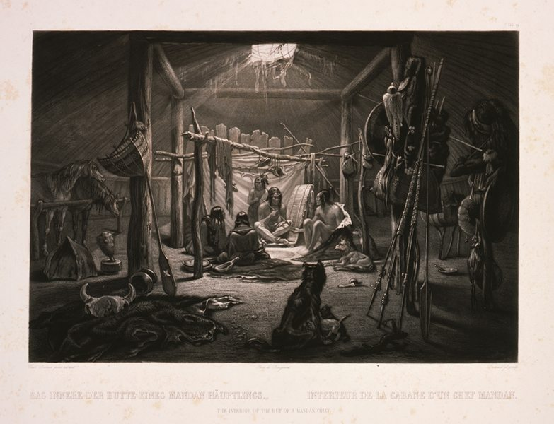 "Karl Bodmer's ""The interior of the Hut of a Mandan Chief."" 21.69.19"