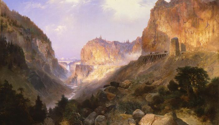 """Thomas Moran's """"Golden Gate, Yellowstone National Park,"""" 1893. Oil on canvas. Museum Purchase. 4.75"""