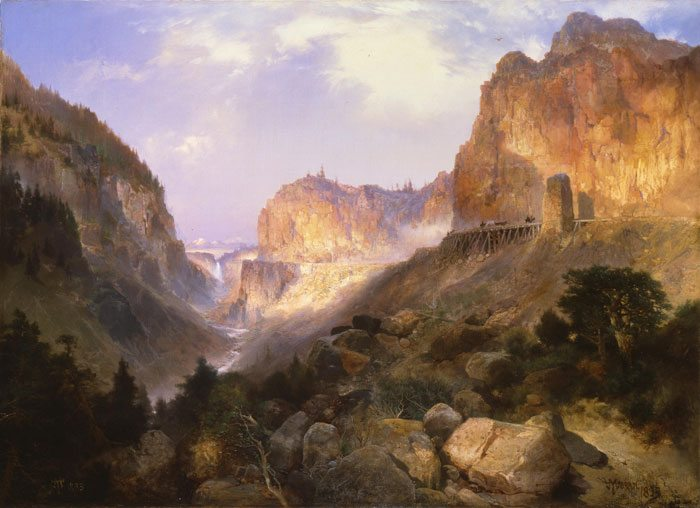 "Thomas Moran's ""Golden Gate, Yellowstone National Park,"" 1893. Oil on canvas. Museum Purchase. 4.75"