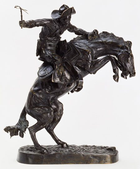 "Frederic Remington's ""The Broncho Buster,"" 1895. Bronze. Gift of G.J. Guthrie Nicolson Jr. and son in memory of their father/grandfather G.J. Guthrie Nicholson. 7.74"