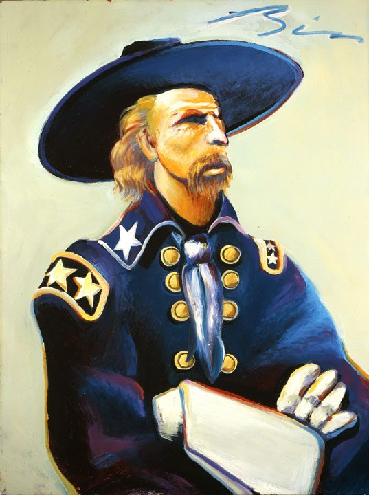 Earl Biss's 'General Custer in Blue and Green,' part of 'Today's West!' exhibition. 18.00