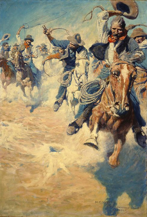 N.C. Wyeth's 'The Wild Spectacular Race for Dinner,' part of 'Go West!' exhibition. 44.83
