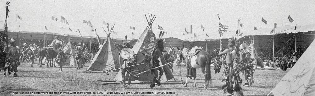 American Indian performers and tipis in Wild West show arena. P.69.902