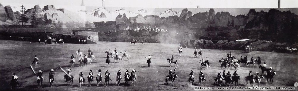 101 Ranch show in arena, ca. 1916. P.69.1300
