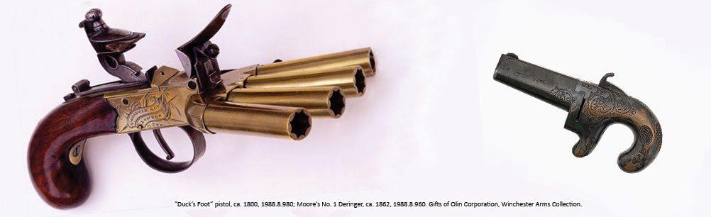 'Duck's Foot' pistol, ca. 1800; Moore's No. 1 Deringer, ca. 1862. 1988.8.980 and 960