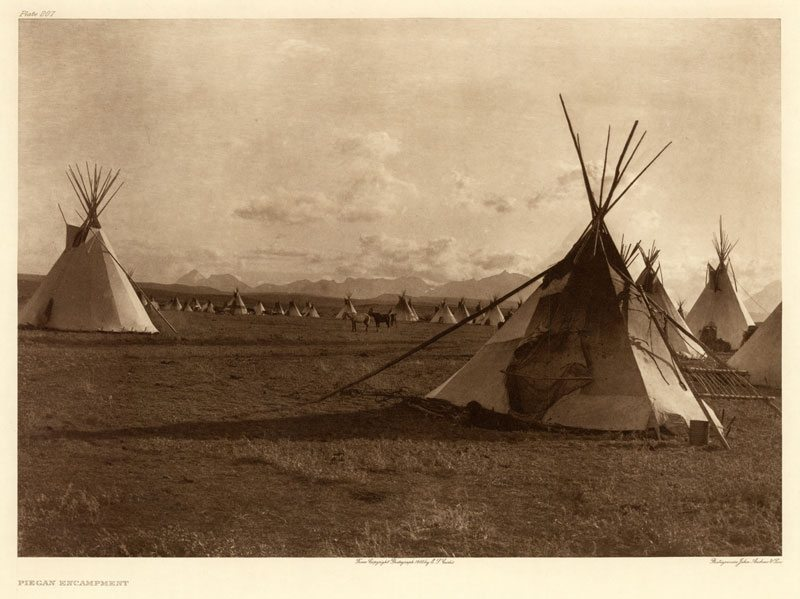 "Edward Curtis's ""Piegan encampment,"" Plate 207 of ""The North American Indian"""