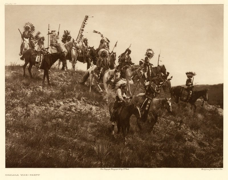 "Edward Curtis's ""Oglala war-party,"" Plate 77 of ""The North American Indian"""