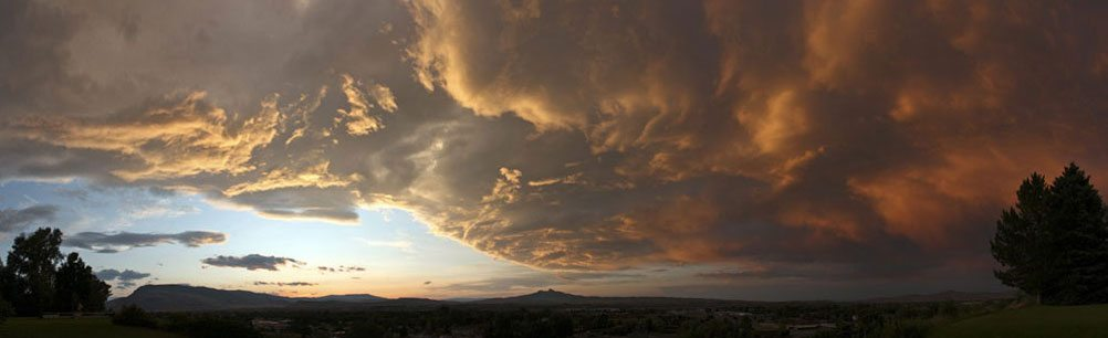 Dramatic clouds and Heart Mountain. Photo by Mack Frost.