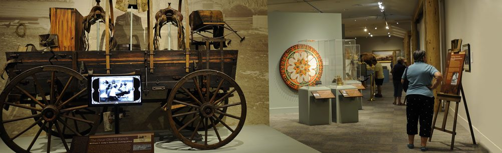 TE Ranch and Irma roulette wheel exhibits in Buffalo Bill Museum