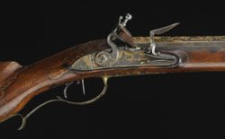 Closeup of firing mechanism, Catherine the Great's Russian Jaeger flintlock rifle