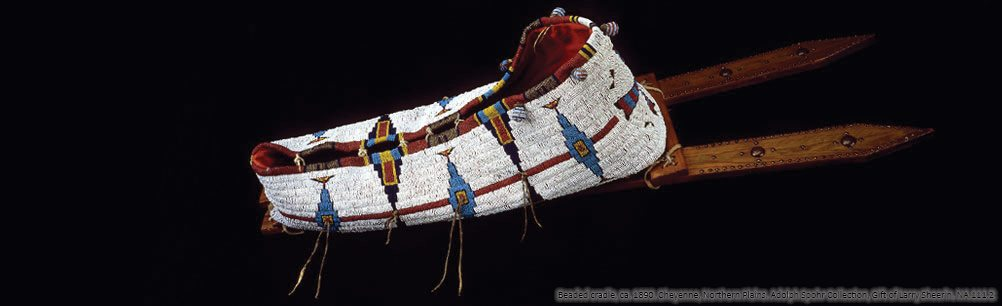 Beaded cradle, ca. 1890. Cheyenne, Northern Plains. NA.111.2