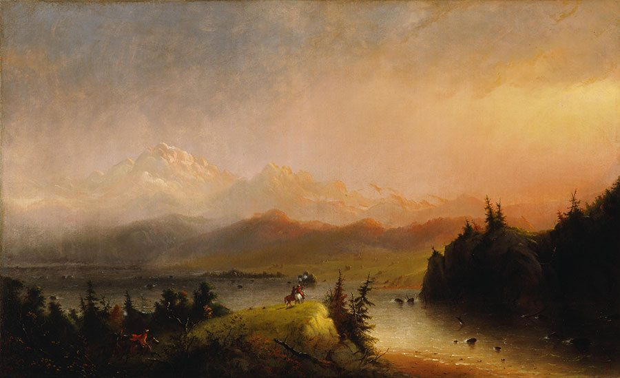 "Learn about inhabitants of the West in our guided tour. Alfred Jacob Miller (1810 – 1874). ""Trappers Saluting the Wind River Mountains,"" 1864. Gift of The Coe Foundation. 10.70"