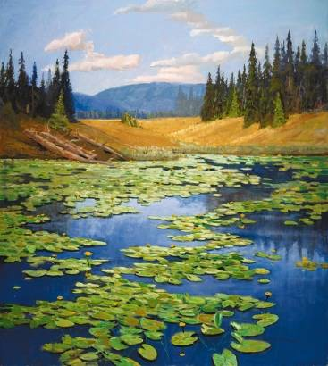 Painting of the Yellowstone water lilies by artist Mel Fillerup