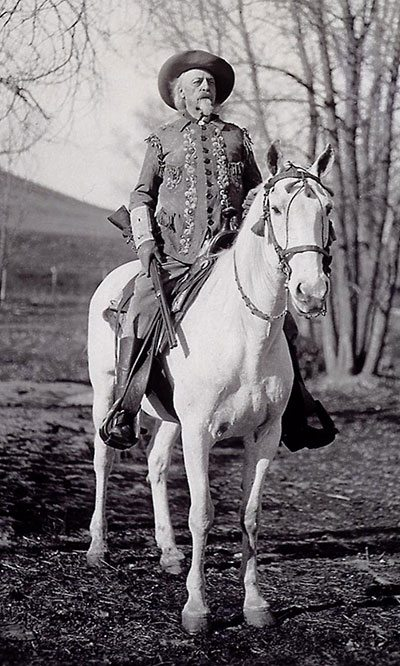 Buffalo Bill on his horse Isham at his Wyoming TE Ranch, ca. 1914. MS 6 William F. Cody Collection, McCracken Research Library. P.69.1979
