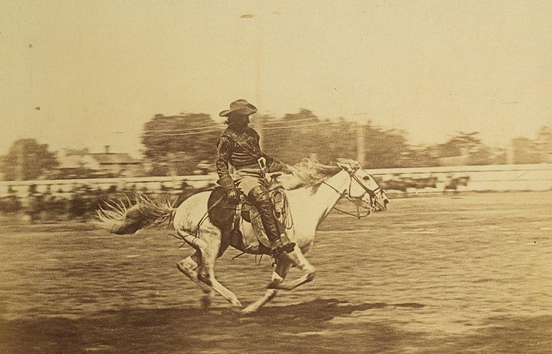 Cody liked riding at full speed. In this undated photo, he races his horse in an arena. MS 71 Vincent Mercaldo Collection, McCracken Research Library. P.71.40.1