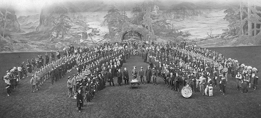 """Buffalo Bill's Wild West company's presentation to William F. """"Buffalo Bill"""" Cody on his birthday at Olympia, London, England, February 26, 1903. P.69.1310c"""