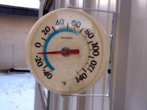 Thermometer showing -10 degrees.