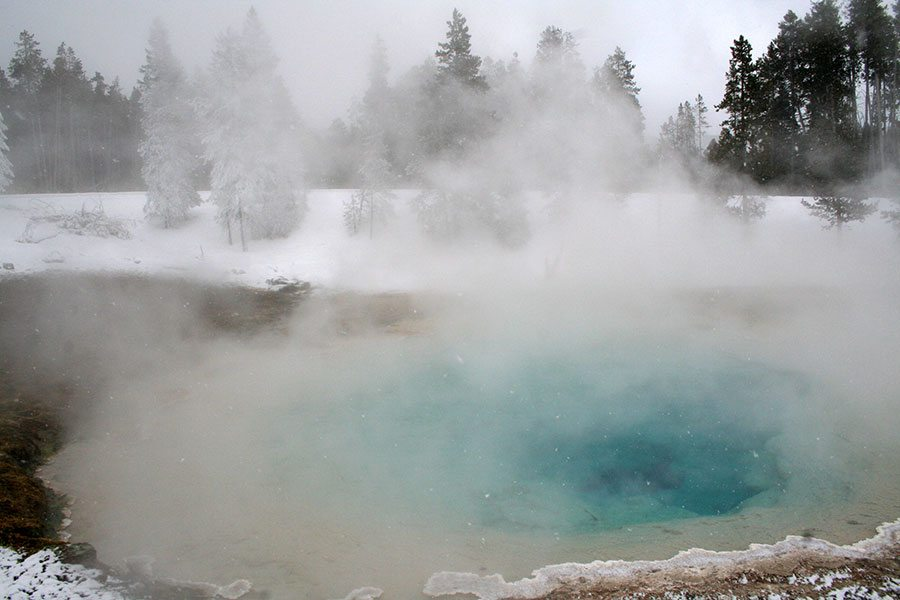 Winter in Yellowstone: hot springs