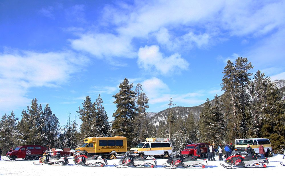 Winter in Yellowstone: snowmobiles and snow coaches