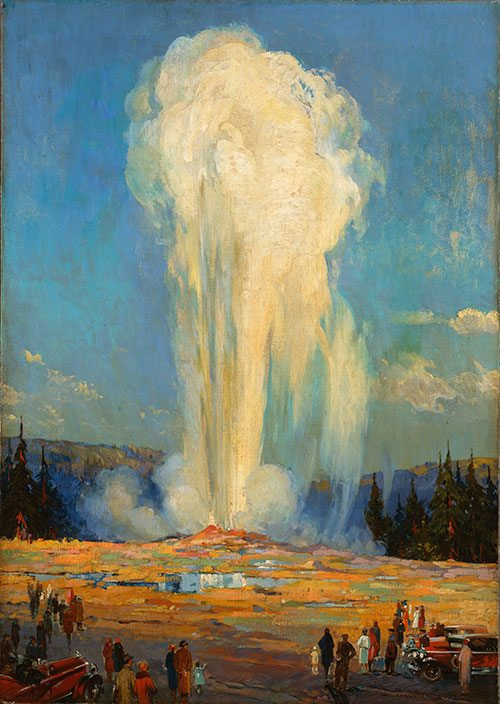 An iconic subject for Yellowstone artists. Carl Preussl's Old Faithful, 1929. A Treasure from our West. 3.01