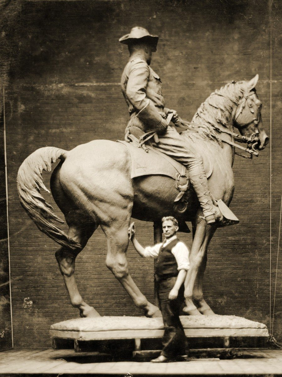 Proctor with plaster cast of Rough Rider