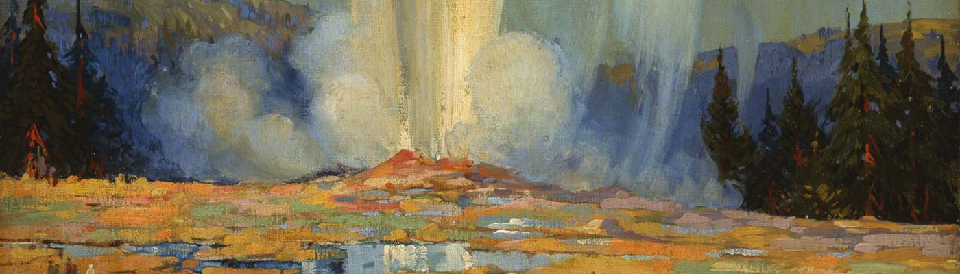 Carl Preussl (1894 – 1951), Old Faithful, 1929. Oil on canvas, 34.125 x 24.125 inches. Designated purchase with donations from the Arlington Gallery, Dr. and Mrs. Van Kirke Nelson and Family, Thomas and Shannon Nygard, and William E. Weiss Fund. 3.01 (detail)