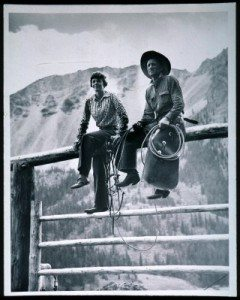 """Amelia Earhart and Carl Dunrud at Dunrud's """"Double Dee Ranch"""" near Meeteetse, Wyoming, 1934. The Absaroka Mountains are in the background. Photograph by Charles Belden, Gift of Mrs. Verna Belden, P.67.1476.1"""